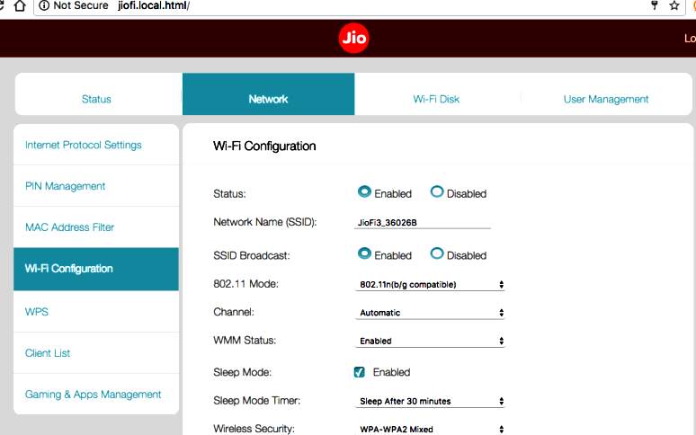 Jiofi.local.html Setting