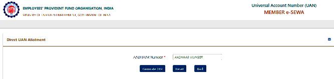 Online Verified Aadhaar UAN Allotment