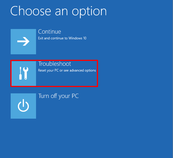 Windows 10 Safe Mode by Trouble Shoot