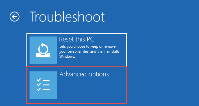 Windows 10 Troubleshoot by Advanced Options
