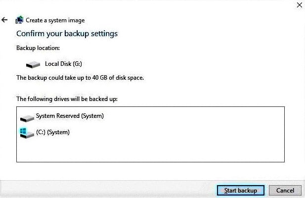 Confirm Windows 10 OS Backup